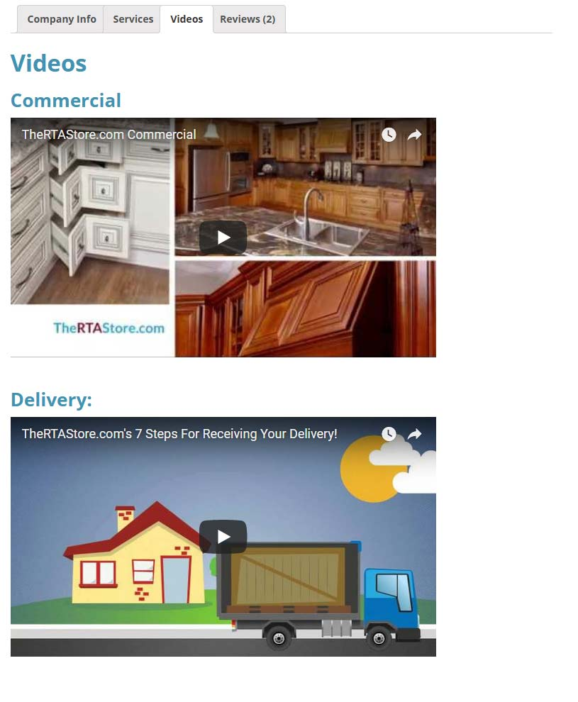 premium kitchen directory listing videos tab